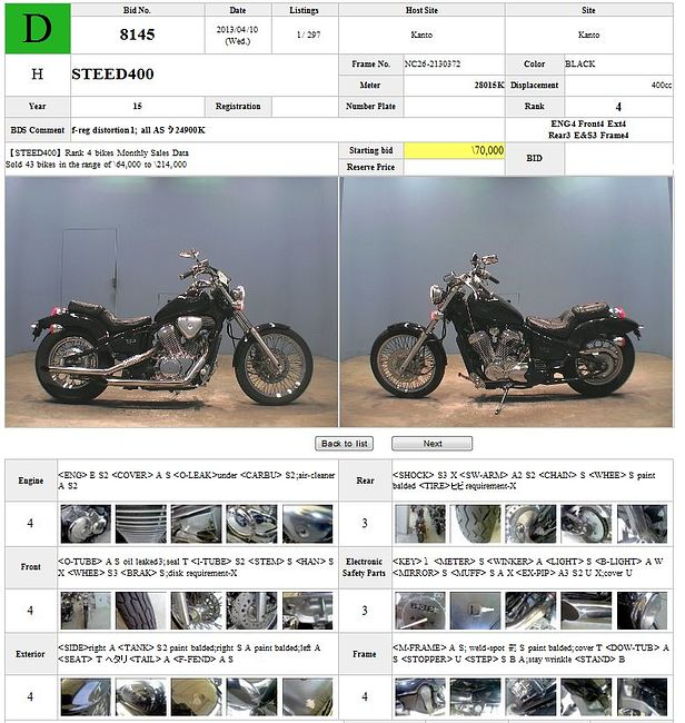 HONDA STEED 400 описание NMB7811  (art-00115478) 3