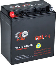 Battery Outdo gel 140 YTX16-BS, 14 Ah, 151x88x164 mm