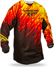 Fly Racing 2015 Kinetic Glitch Race Jersey (youth), red/black/yellow, S