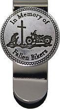 Clothespin for money In Memory of Fallen Bikers