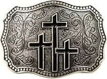 Buckle on the belt The Three crosses belt bukle