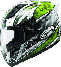 G-Max GM69 Integral Helmet, white/green, L