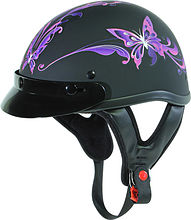 Шлем открытый Outlaw T-70 Purple Butterfly, XS